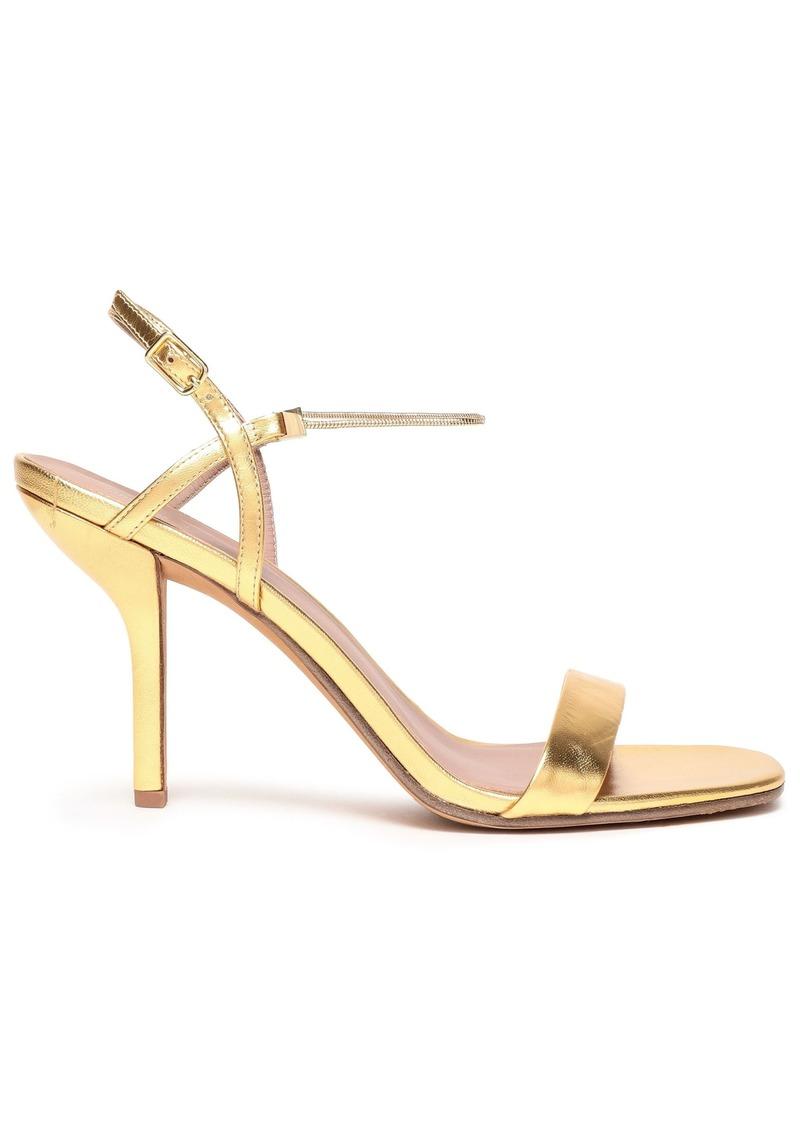 Diane Von Furstenberg Woman Frankie Chain-trimmed Metallic Leather Slingback Sandals Gold