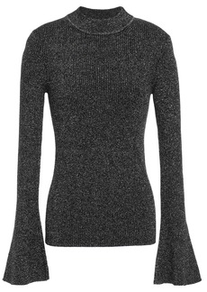 Diane Von Furstenberg Woman Metallic Ribbed Wool-blend Sweater Black