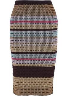 Diane Von Furstenberg Woman Metallic Striped Crochet-knit Pencil Skirt Gold