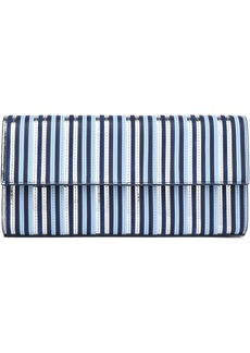 Diane Von Furstenberg Woman Metallic Striped Leather Clutch Navy