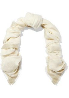 Diane Von Furstenberg Woman Metallic-trimmed Wool-blend Gauze Scarf Ivory
