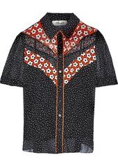 Diane Von Furstenberg Woman Mia Printed Silk-georgette Shirt Black