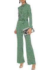 Diane Von Furstenberg Woman Michele Wrap-effect Printed Silk-jersey Jumpsuit Green