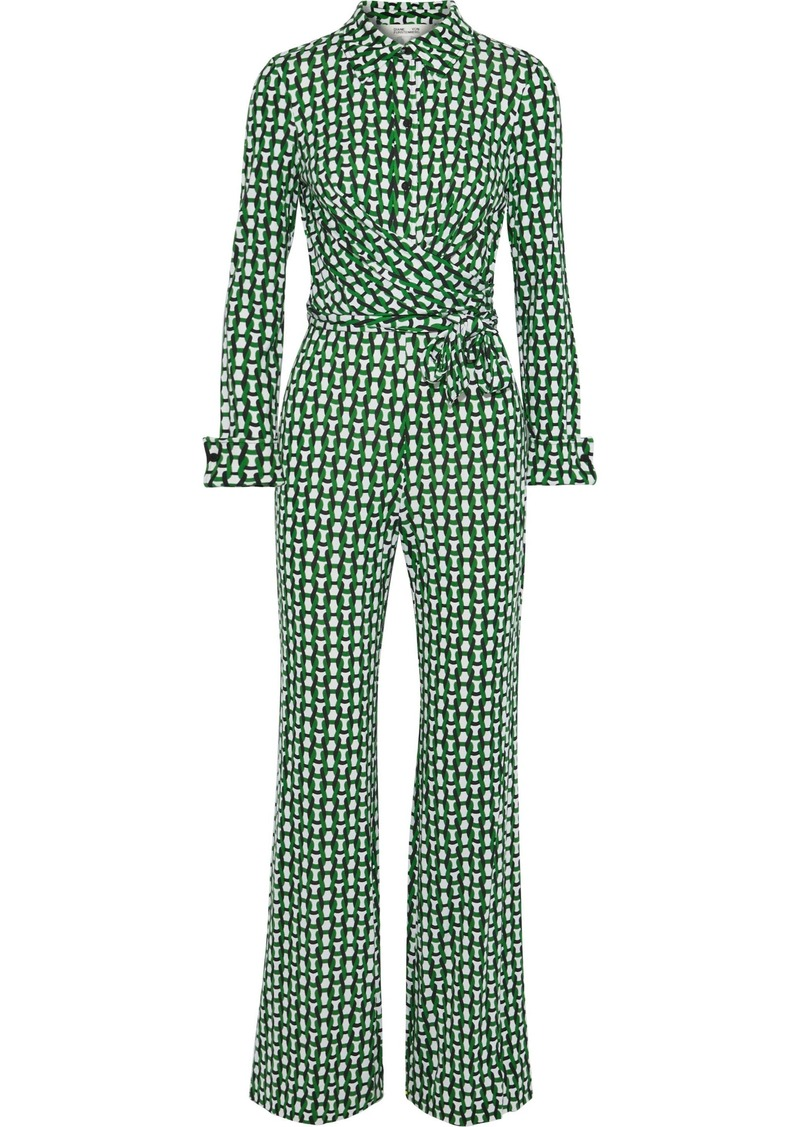 Diane Von Furstenberg Woman Michele Wrap-effect Printed Silk-jersey Jumpsuit Green