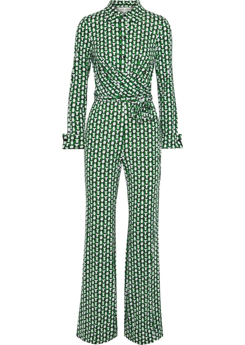 Diane Von Furstenberg Woman Michele Printed Silk-jersey Jumpsuit Green