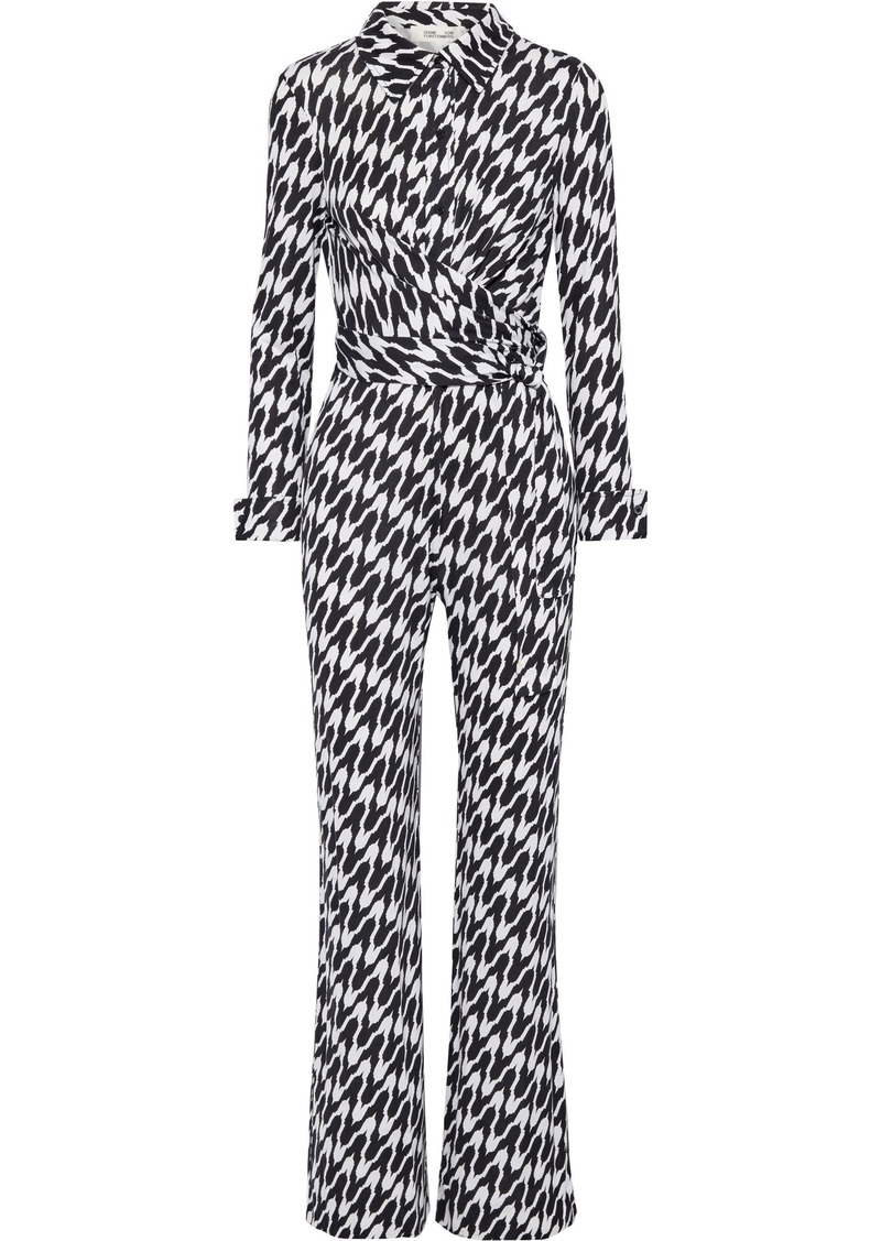 Diane Von Furstenberg Woman Michele Wrap-effect Printed Silk-jersey Jumpsuit Off-white