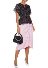 Diane Von Furstenberg Woman Mildred Printed Fil Coupé Silk-blend Chiffon Peplum Top Black