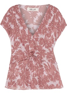 Diane Von Furstenberg Woman Millie Printed Metallic Fil Coupé Silk-blend Georgette Top Antique Rose