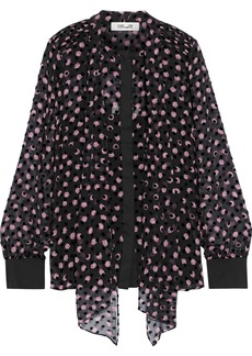 Diane Von Furstenberg Woman Minnie Flocked Floral-print Silk-blend Chiffon Blouse Black