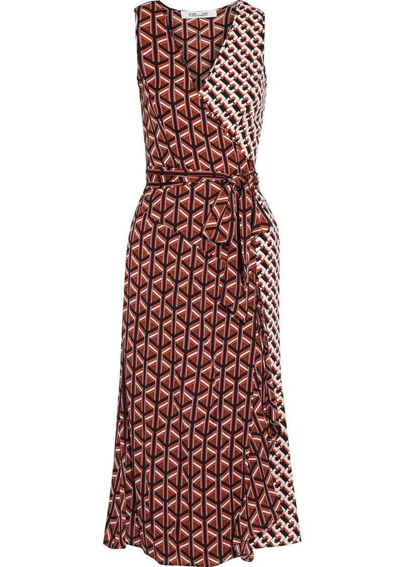Diane Von Furstenberg Woman Moira Paneled Printed Stretch-silk Wrap Dress Multicolor