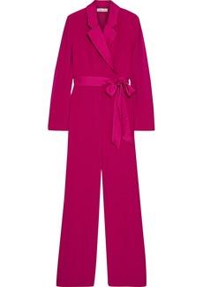 Diane Von Furstenberg Woman Monica Wrap-effect Satin-trimmed Crepe Wide-leg Jumpsuit Magenta