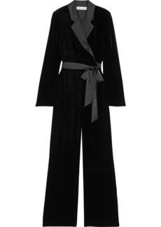 Diane Von Furstenberg Woman Monica Wrap-effect Satin-trimmed Velvet Wide-leg Jumpsuit Black