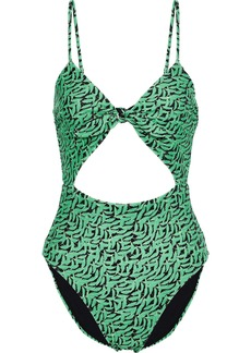 Diane Von Furstenberg Woman Morgan Knotted Cutout Printed Swimsuit Green
