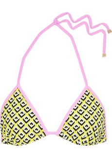 Diane Von Furstenberg Woman Moss Printed Triangle Bikini Top Yellow