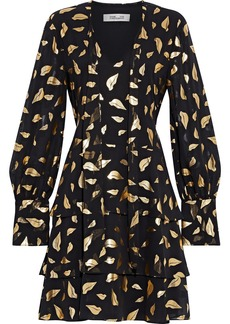 Diane Von Furstenberg Woman Mylah Tiered Metallic Printed Chiffon Mini Dress Black