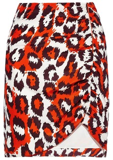 Diane Von Furstenberg Woman Nadia Ruched Leopard-print Silk Mini Skirt Red