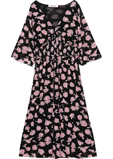 Diane Von Furstenberg Woman Nala Shirred Floral-print Stretch-mesh Midi Dress Black