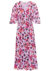Diane Von Furstenberg Woman Nala Shirred Floral-print Stretch-mesh Midi Dress Lavender