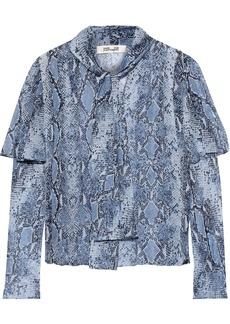 Diane Von Furstenberg Woman Nami Tie-neck Ruffled Snake-print Silk-chiffon Blouse Blue