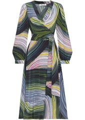 Diane Von Furstenberg Woman Natalie Printed Silk Crepe De Chine Midi Wrap Dress Multicolor
