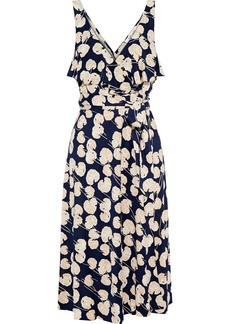Diane Von Furstenberg Woman Naya Ruffled Printed Silk-jersey Wrap Dress Midnight Blue
