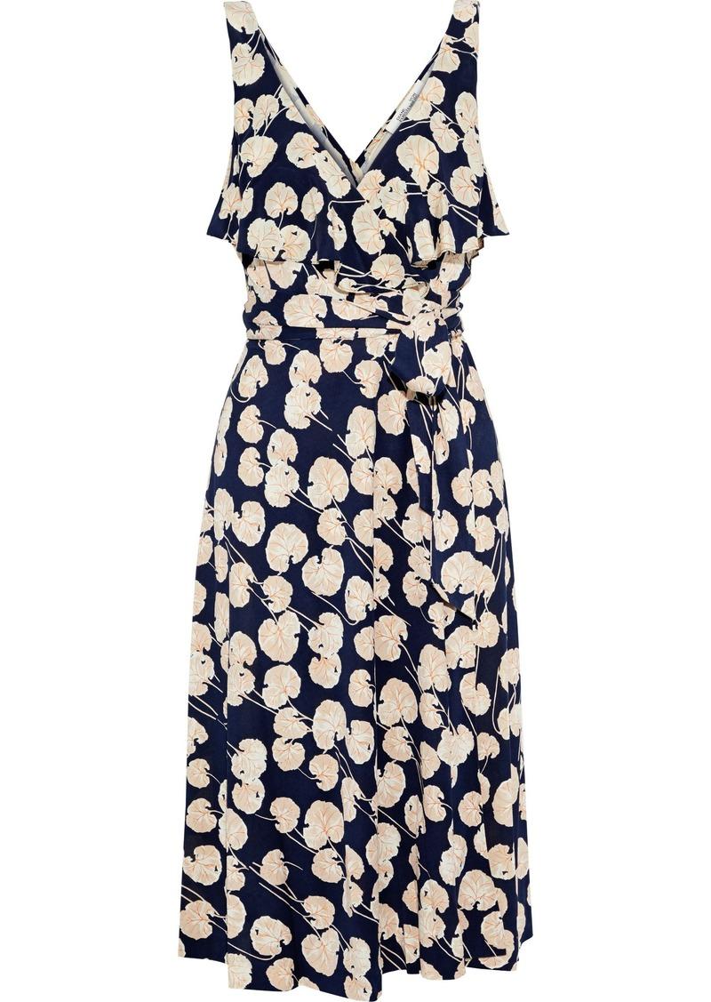 Diane Von Furstenberg Woman Naya Ruffled Printed Silk-jersey Wrap Dress Midnight Blue