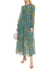 Diane Von Furstenberg Woman Nea Gathered Printed Voile Midi Dress Grey Green