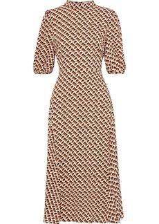 Diane Von Furstenberg Woman Nella Printed Crepe De Chine Midi Dress Tan