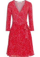 Diane Von Furstenberg Woman New Irina Floral-print Jersey And Crepe De Chine Mini Wrap Dress Red