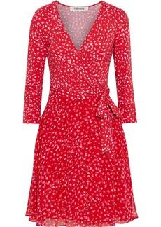 Diane Von Furstenberg Woman New Irina Floral-print Jersey And Crepe De Chine Mini Wrap Dress Red