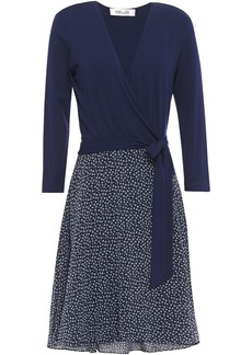 Diane Von Furstenberg Woman New Irina Stretch-jersey And Floral-print Georgette Wrap Dress Navy