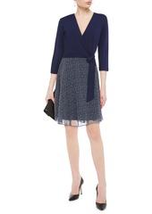 Diane Von Furstenberg Woman New Irina Stretch-jersey And Floral-print Georgette Wrap Dress Navy
