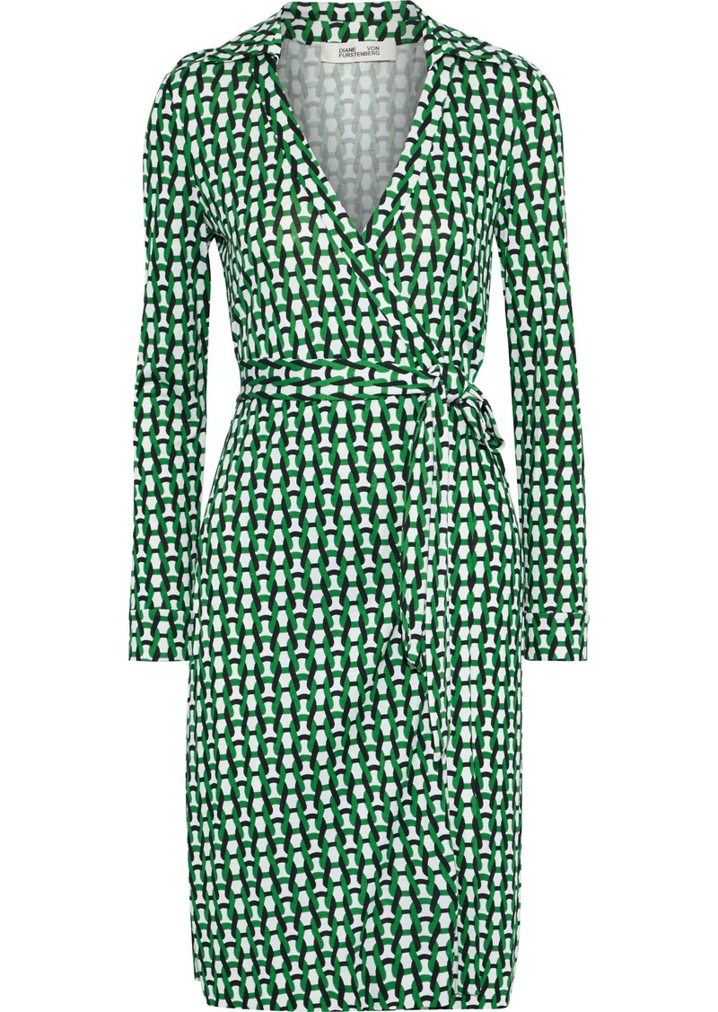 Diane Von Furstenberg Woman Printed Silk-jersey Wrap Dress Green