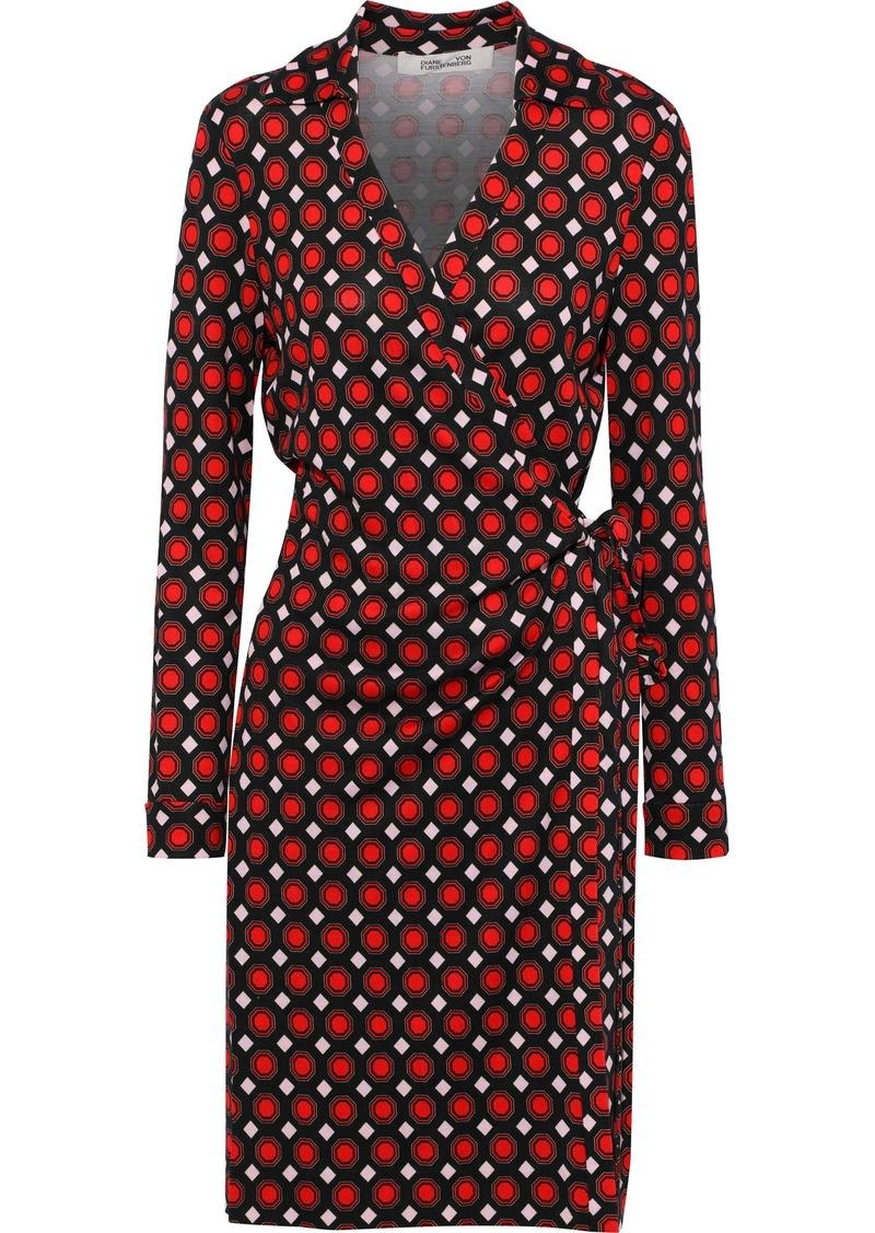Diane Von Furstenberg Woman Printed Silk-jersey Wrap Dress Brick