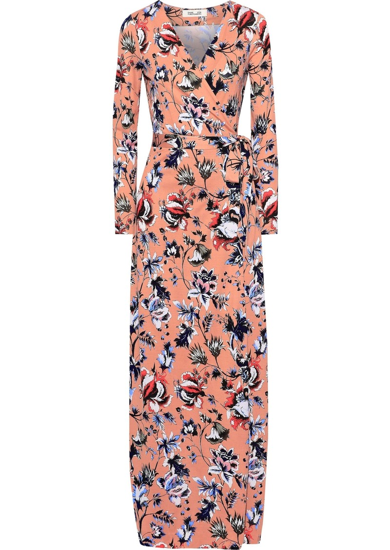 Diane Von Furstenberg Woman New Julian Floral-print Silk-jersey Maxi Wrap Dress Antique Rose