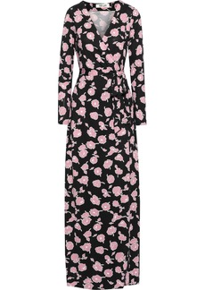 Diane Von Furstenberg Woman New Julian Floral-print Silk-jersey Maxi Wrap Dress Black