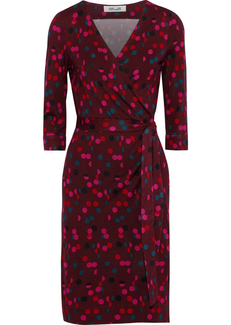 Diane Von Furstenberg Woman New Julian Two Polka-dot Silk-jersey Wrap Dress Burgundy