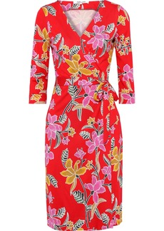 Diane Von Furstenberg Woman Printed Silk-jersey Wrap Dress Tomato Red