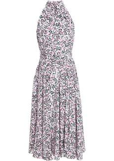 Diane Von Furstenberg Woman Nicola Belted Pleated Printed Silk-crepe Midi Dress Lilac