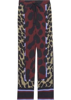 Diane Von Furstenberg Woman Nik Printed Stretch-silk Wide-leg Pants Black