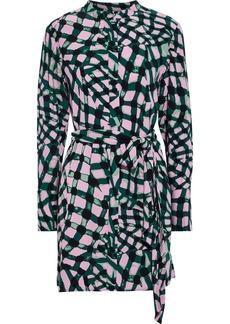 Diane Von Furstenberg Woman Nomie Belted Printed Crepe Mini Dress Emerald