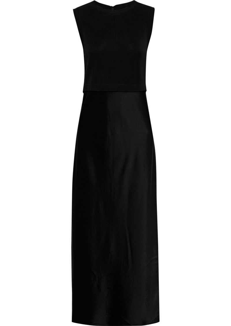 Diane Von Furstenberg Woman Nouvel Layered Stretch-crepe And Satin Midi Dress Black