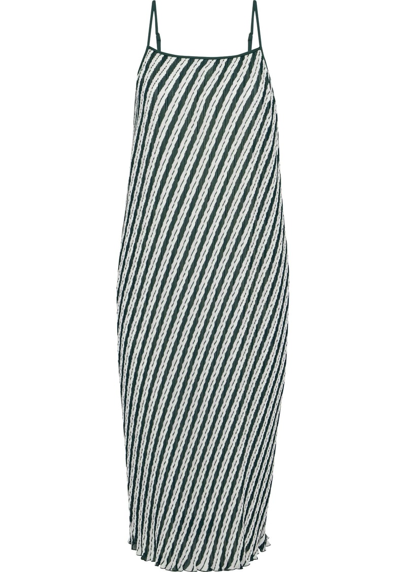 Diane Von Furstenberg Woman Novalee Striped Plissé-chiffon Midi Dress Green