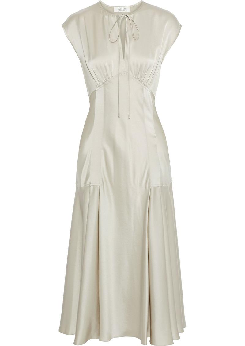 Diane Von Furstenberg Woman Nur Satin Midi Dress Neutral