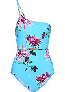Diane Von Furstenberg Woman One-shoulder Belted Floral-print Swimsuit Turquoise