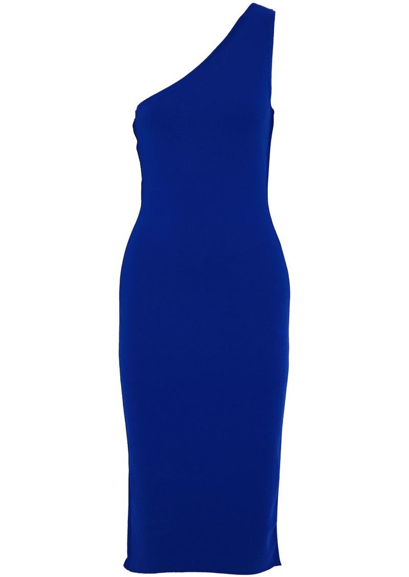 Diane Von Furstenberg Woman One-shoulder Stretch-ponte Dress Royal Blue