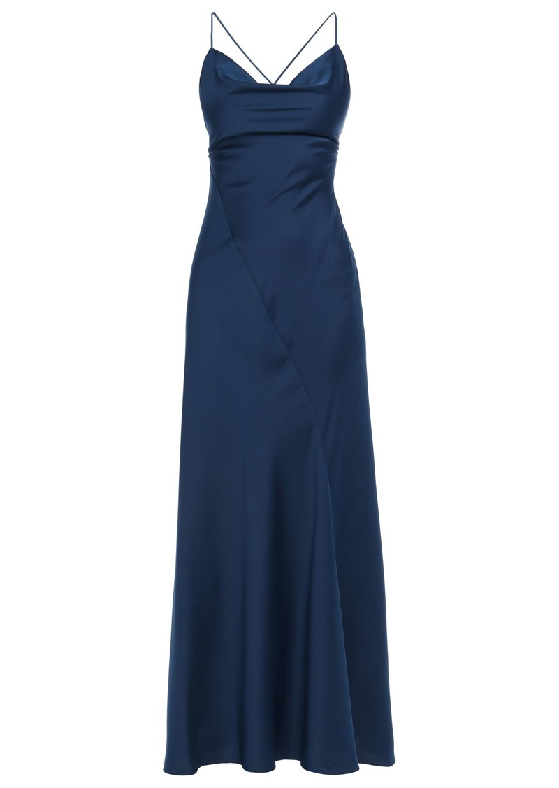Diane Von Furstenberg Woman Open-back Satin-crepe Maxi Slip Dress Navy