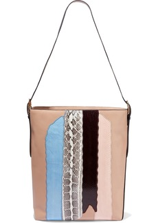 Diane Von Furstenberg Woman Origami Printed Watersnake-paneled Leather Bucket Bag Blush