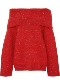 Diane Von Furstenberg Woman Oversized Off-the-shoulder Donegal Wool-blend Sweater Red
