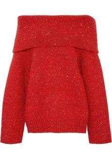 Diane Von Furstenberg Woman Oversized Off-the-shoulder Donegal Wool-blend Sweater Red